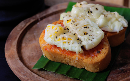 Baked Cheese Breakfast Recipe with Egg on Toast