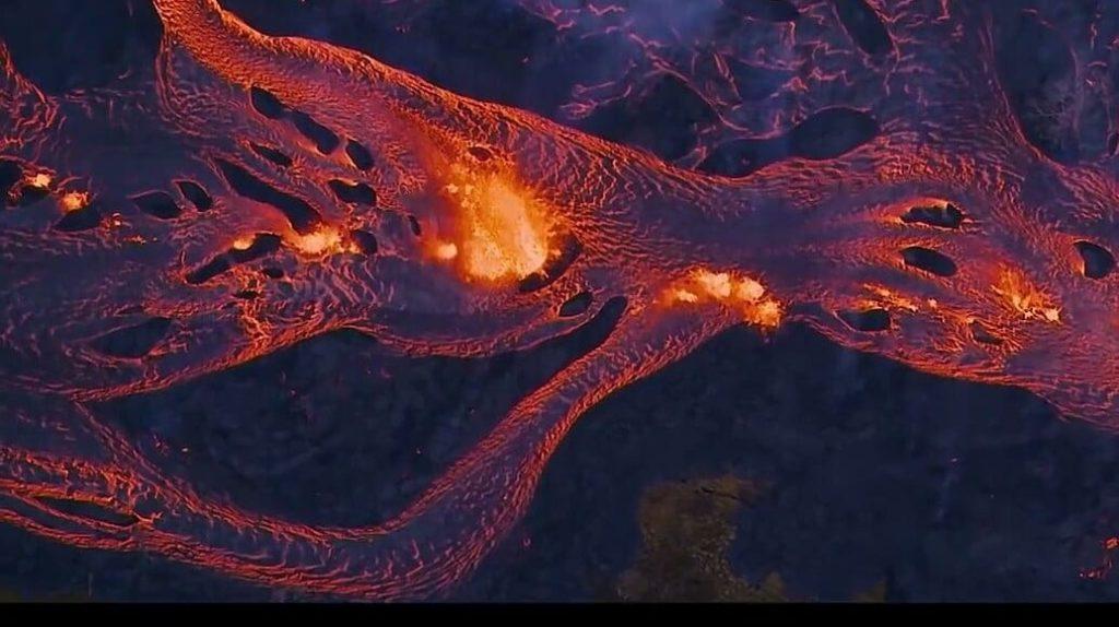 Glass billowed into the sky over Hawaii
