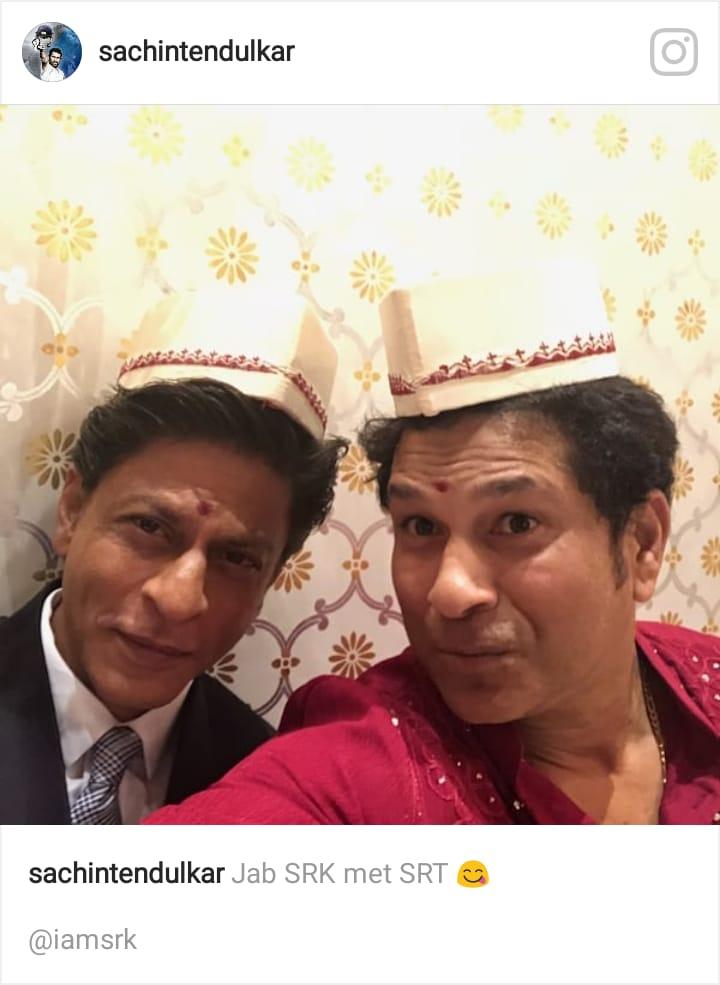 শাহরুখের সঙ্গে সেলফি তুলে শচীন লিখলেন, 'জব SRK মেট SRT'