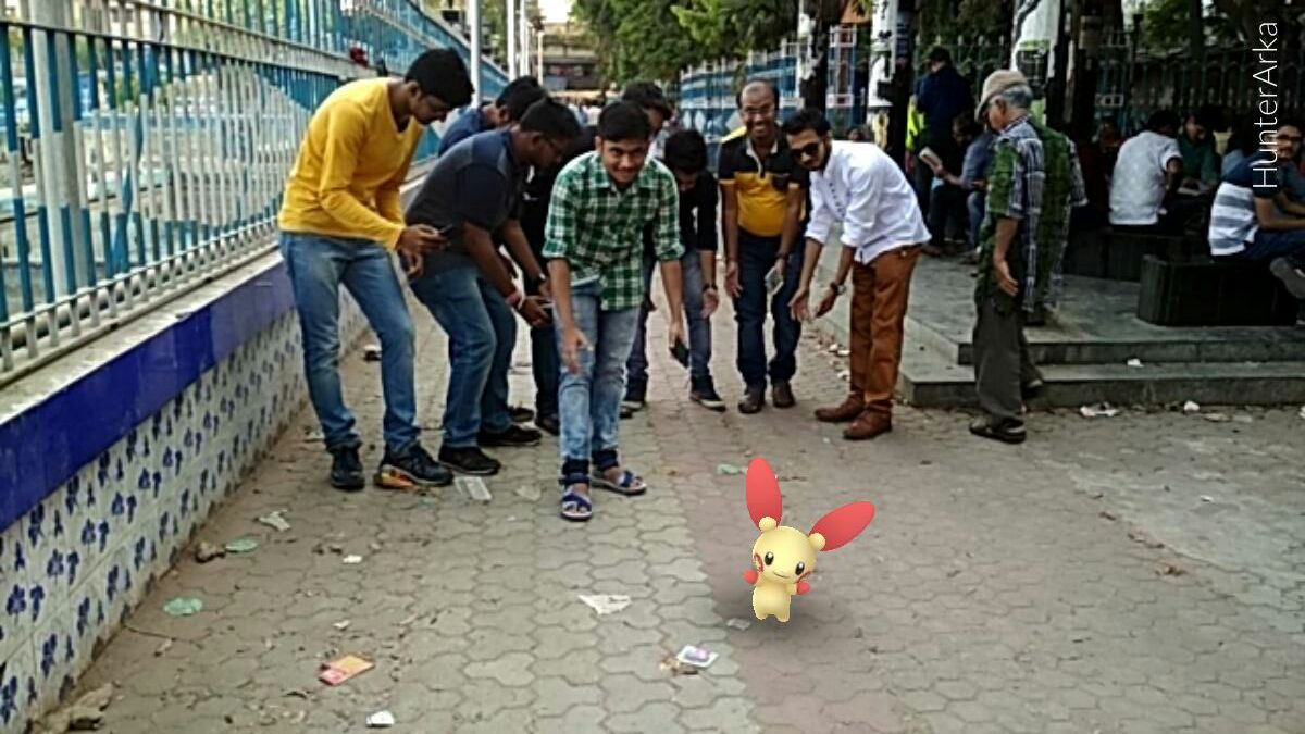 Pokémon trainers in Kolkata walk together to celebrate social gaming