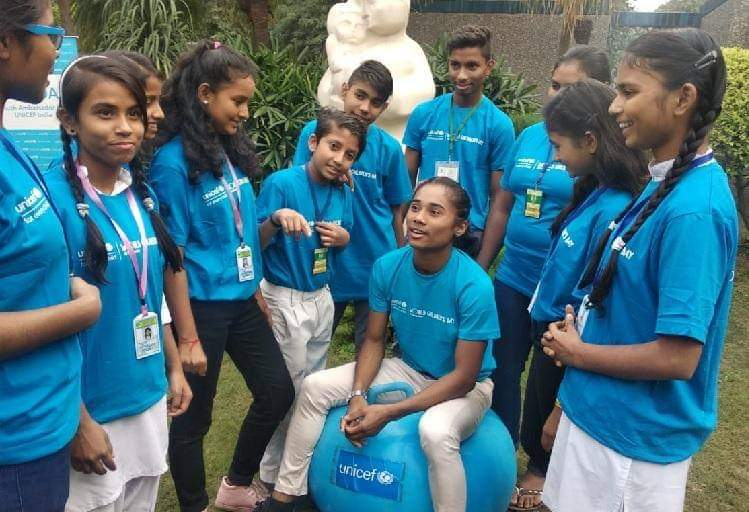 The first youth ambassador of UNICEF India, Hima Das