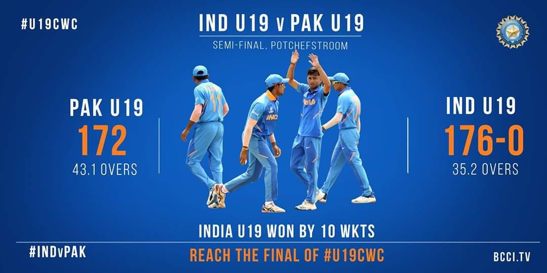 অনূর্ধ্ব-১৯ বিশ্বকাপে পাকিস্তানকে হারিয়ে ফাইনালে ভারত