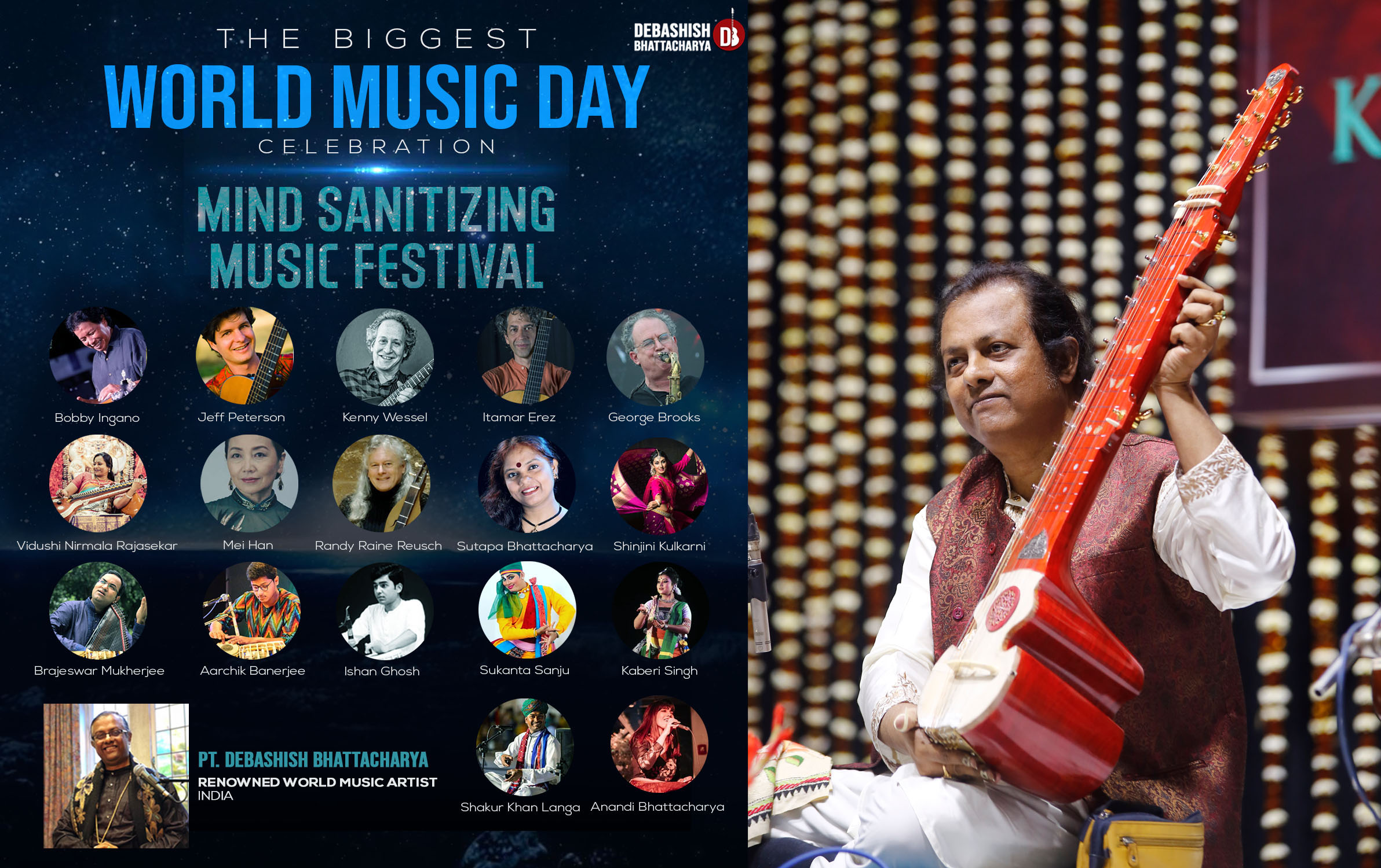 "Mind Sanitizing Music Festival"" by Pandit Debashish Bhattacharya on the eve of World Music Day"