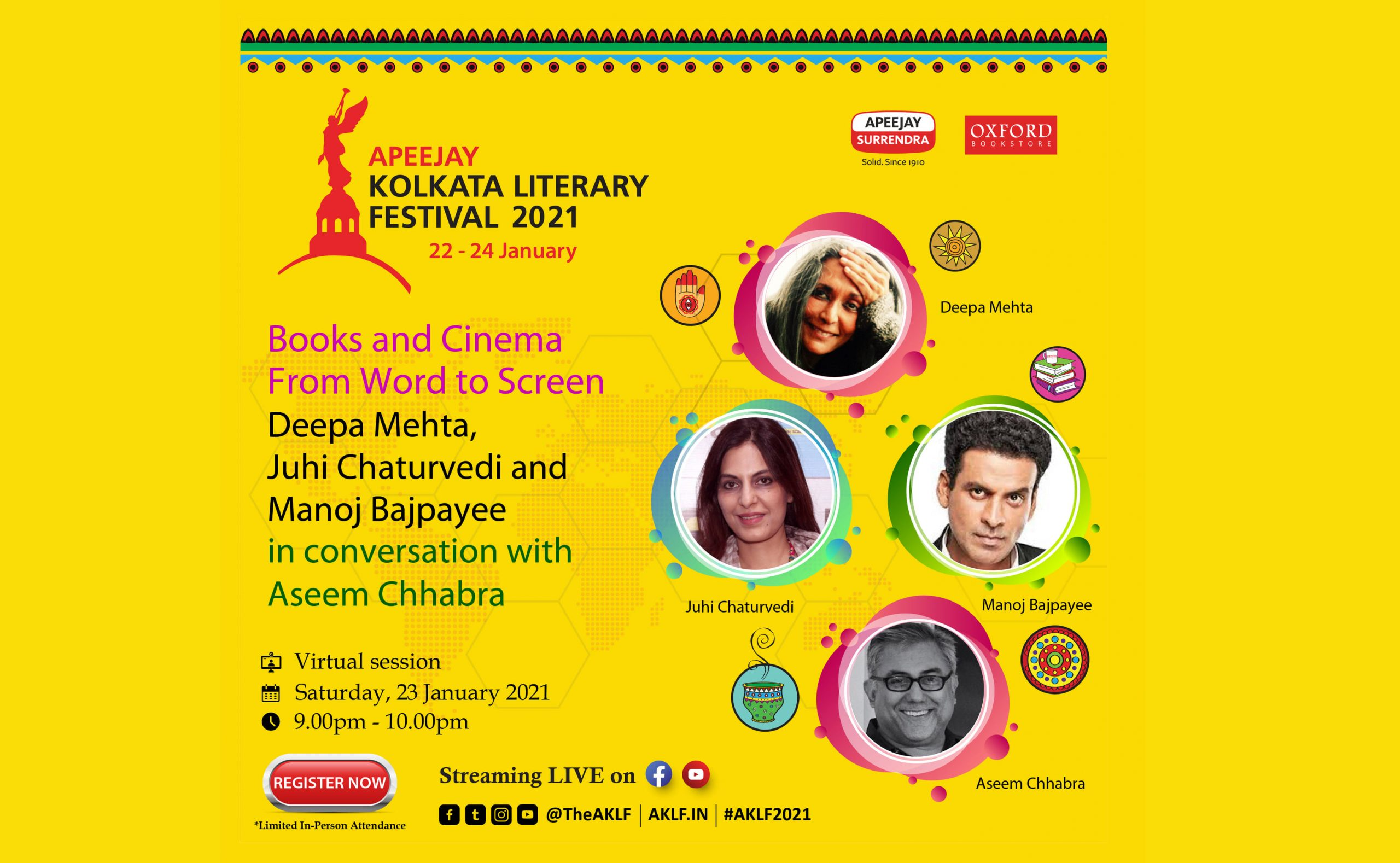 """Books and Cinema: From Word to Screen""  with Manoj Bajpayee , Deepa Mehta and Juhi Chaturvedi"