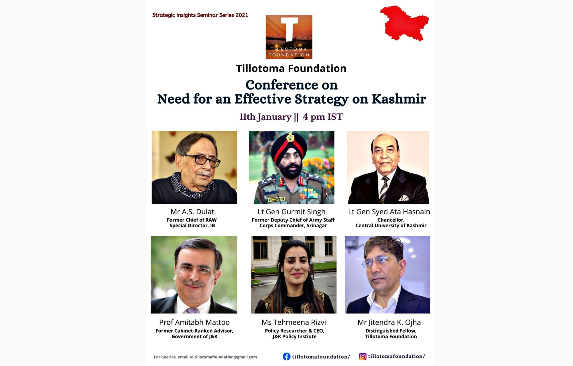 Tillotoma Foundation organizes a Virtual Seminar on 'Need for an Effective Strategy' on Kashmir