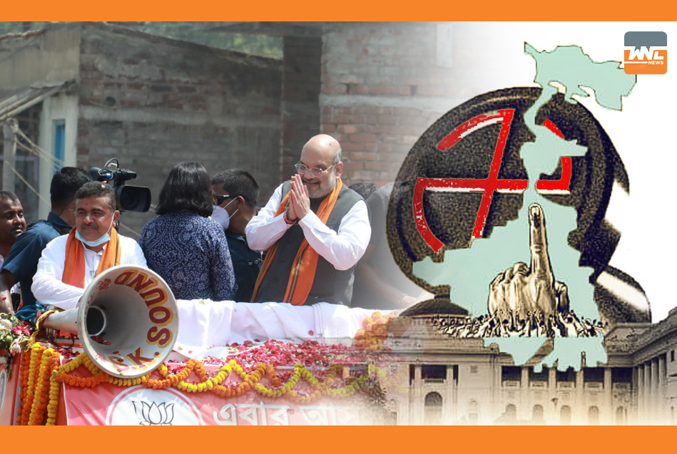 নন্দীগ্রামে শেষলগ্নের নির্বাচনী প্রচারে অমিত শাহর রোড শো