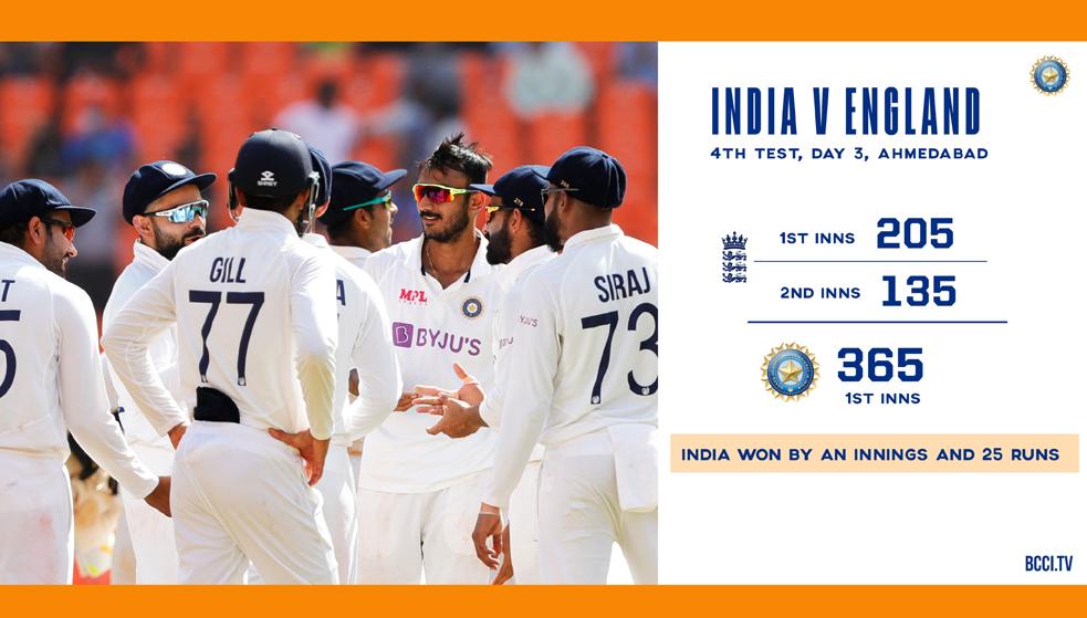 🏏 ভারত বমাম ইংল্যান্ড টেস্ট : সিরিজের চতুর্থ টেস্টে ২৫ রানে জয় ভারতের
