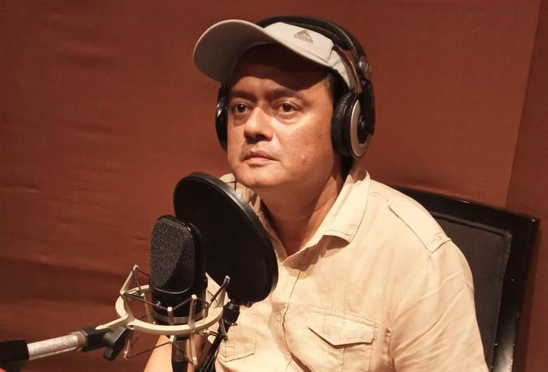 "Actor Saswata Chatterjee dubs for his upcoming film ""Rohossomoy"""