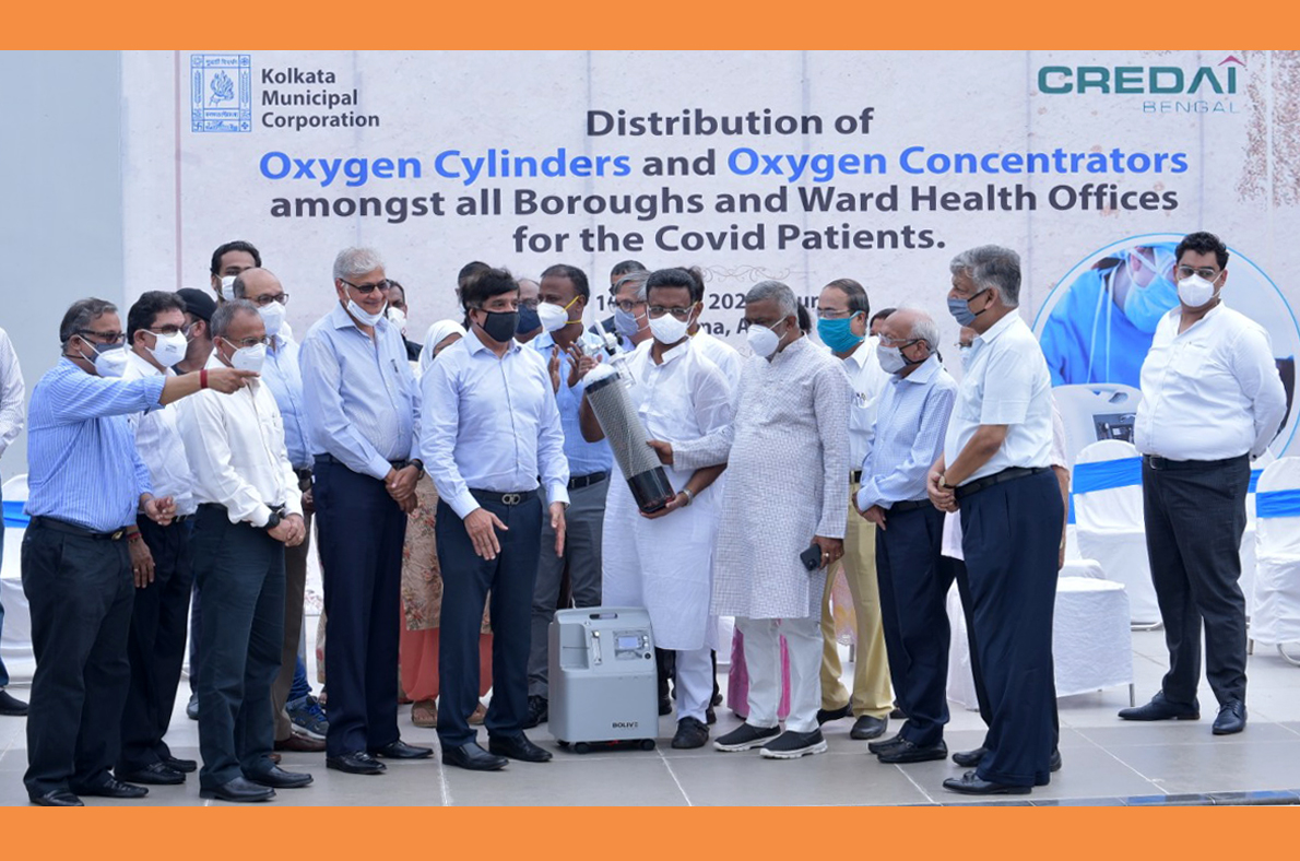 150 Oxygen Concentrators and 250 Oxygen Cylinders donated by CREDAI Bengal to Kolkata Municipal Corporation