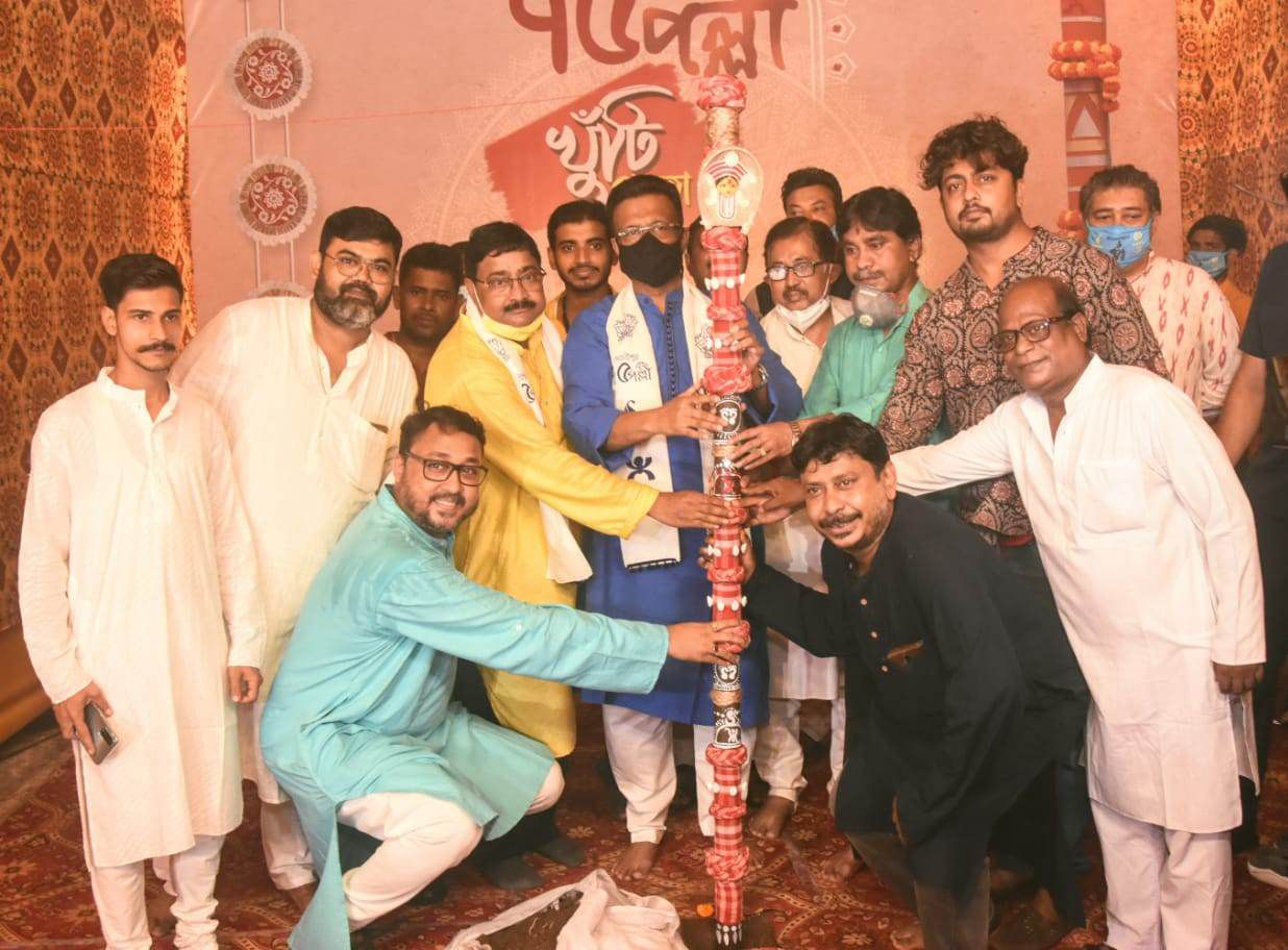 Puja Curtains go up with KHUTI PUJA at BHOWANIPUR 75 PALLI