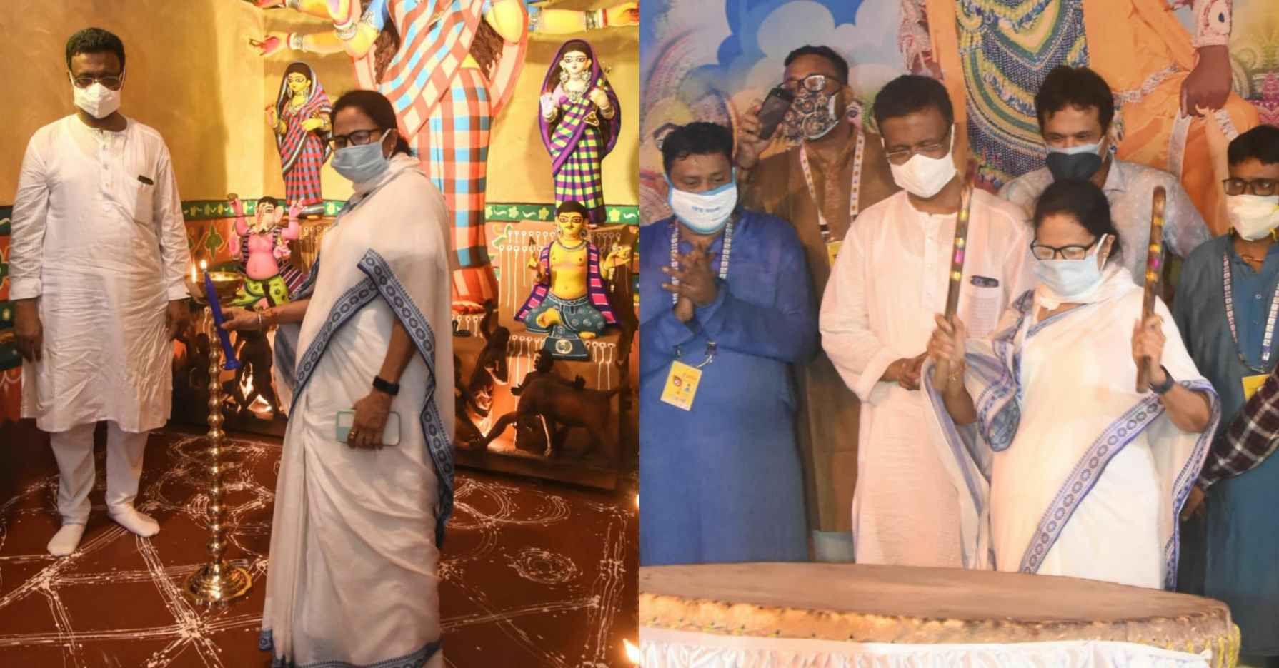 Mamata Banerjee inaugurated Bhowanipur 75 Palli Durga Puja with its theme 'MANOBIK' to uplift the morale of the internationally acclaimed 'Chhau Dancers' from Purulia District of WB